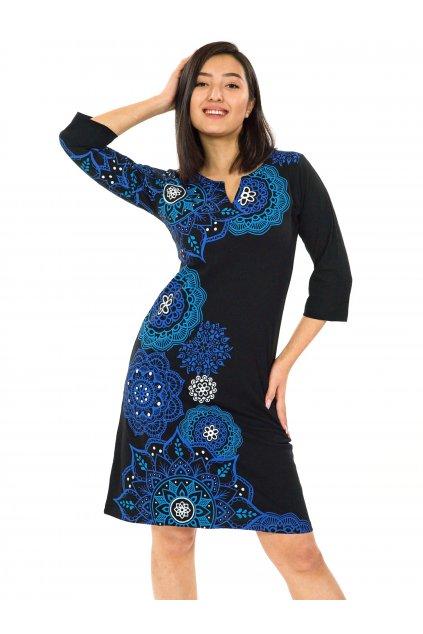 Šaty s 3/4 rukávem Ailana - černá s modrou