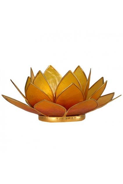 Lotosový svícen - oranžovo-žlutý