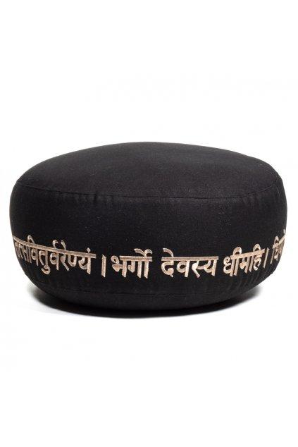 Meditační polštář Gayatri mantra - černý