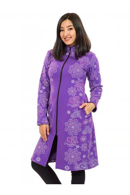 Prodloužená mikina na zip s kapucí Lei - fialová