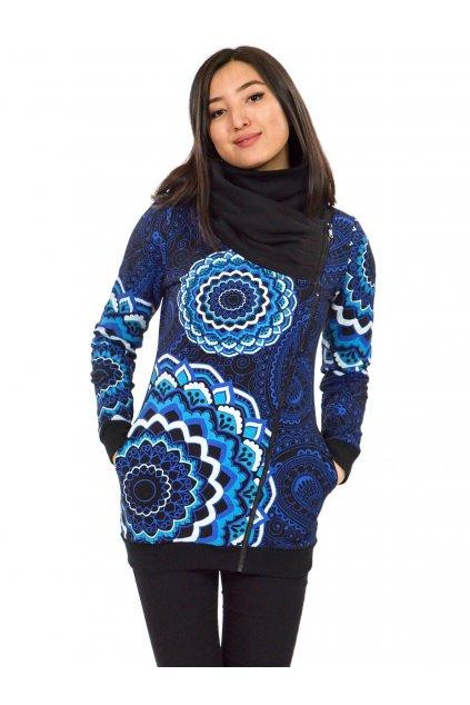 Hřejivá mikina na zip s maxi límcem Pahala - černá s modrou a fialovou