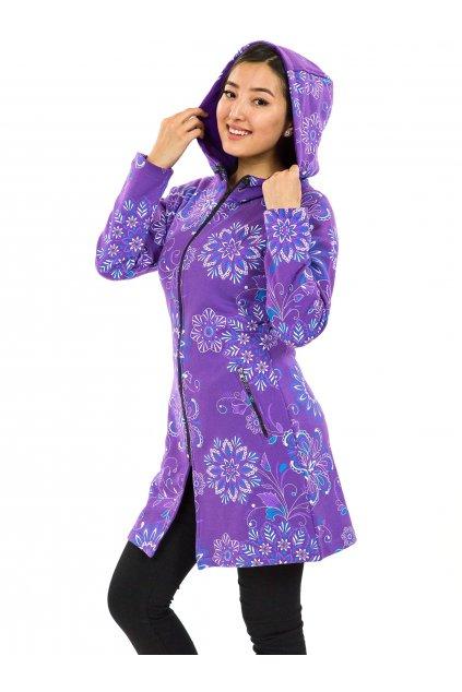 Prodloužená mikina na zip s kapucí Talia - fialová
