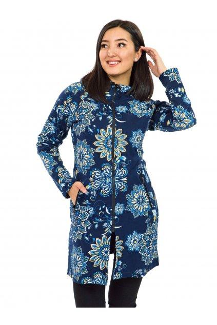 Prodloužená mikina na zip s kapucí Talia - modrá