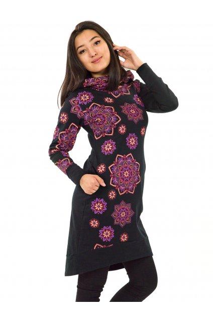 Šatomikina s maxi kapucí Pokhara - černá s růžovou