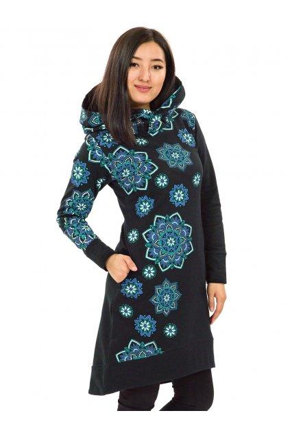 Šatomikina s maxi kapucí Pokhara - černá s tyrkysovou a fialovou