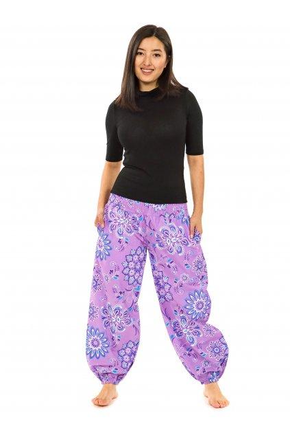 Kalhoty Rhea- levandulová s tyrkysovou