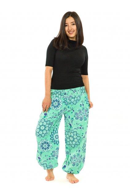Kalhoty Rhea- tyrkysová s fialovou