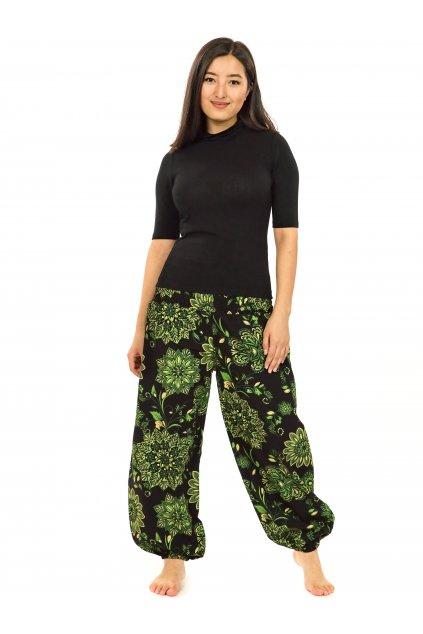 Kalhoty Rhea- černá se zelenou