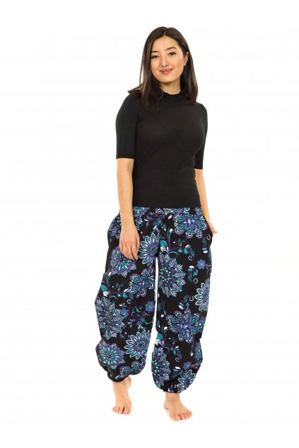 Kalhoty Rhea- černá s fialovou