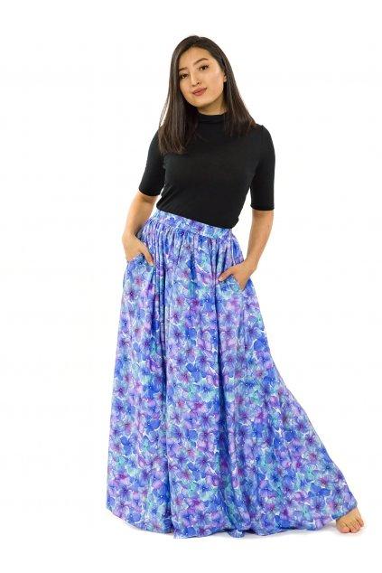 Maxi sukně Rotuma s kapsami - tyrkysová s fialovou