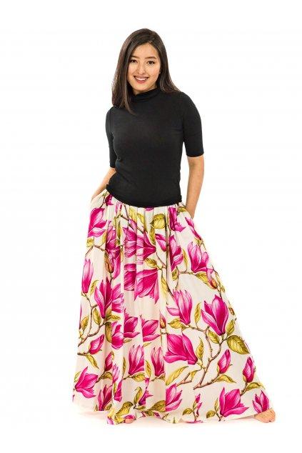 Maxi sukně Magnólie s kapsami - bílá s růžovou