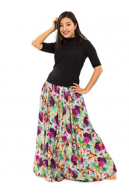 Maxi sukně Tahanea s kapsami - šedá