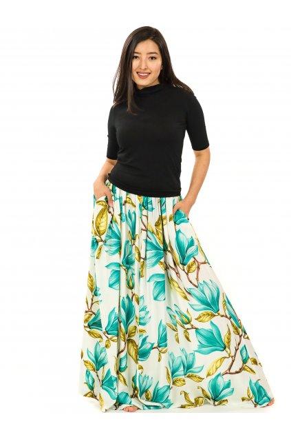 Maxi sukně Magnólie s kapsami - bílá s tyrkysovou