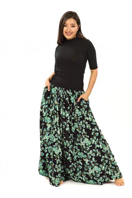 Maxi sukně Sakura s kapsami - černá s tyrkysovou