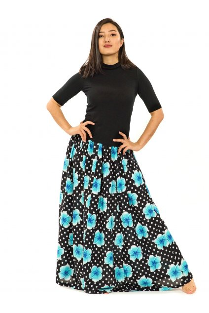 Maxi sukně Plumeria s kapsami - černá s tyrkysovou
