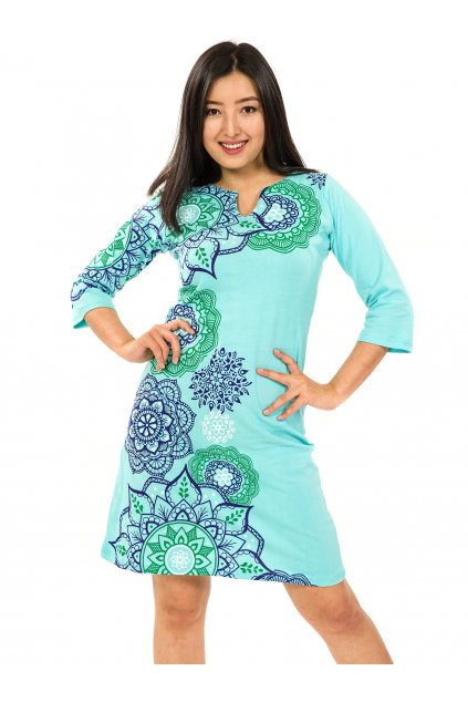 Šaty s 3/4 rukávem Ailana - tyrkysová