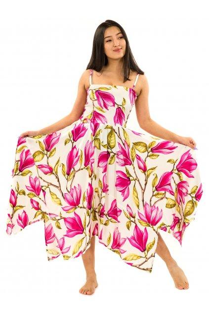 Šaty-sukně 2v1 Dawa Magnólie - bílá s růžovou