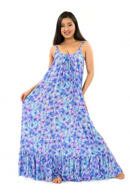 Vzdušné maxi šaty Rotuma - tyrkysová s fialovou