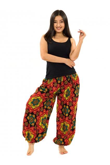 Kalhoty Puri - černá s oranžovou