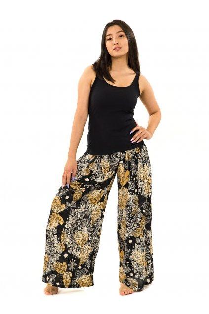 Maxi kalhoty Butterfly - černá se zlatou