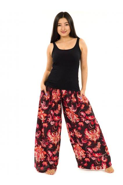 Maxi kalhoty Rauna - černé s červenou