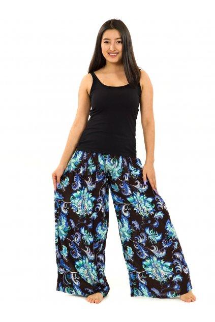 Maxi kalhoty Rauna - černé s tyrkysovou