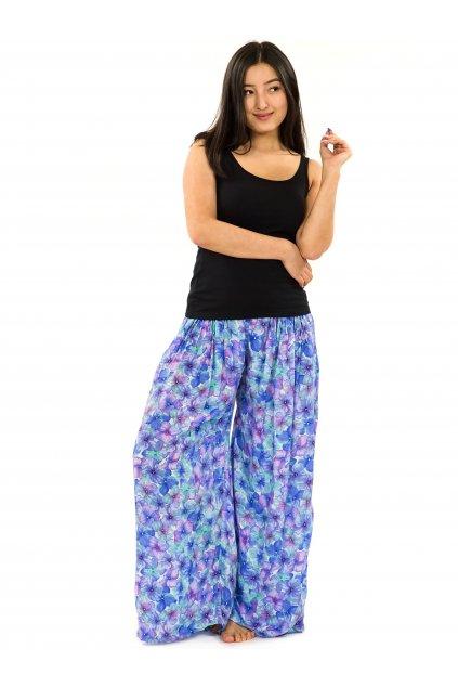 Maxi kalhoty Rotuma - tyrkysová s fialovou