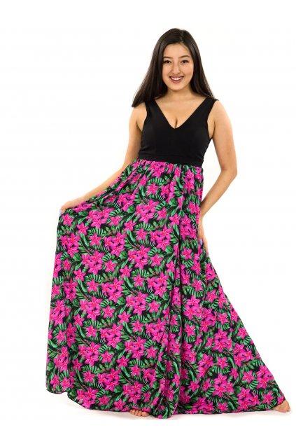 Dlouhé maxi šaty Plumeria - zelená s růžovou