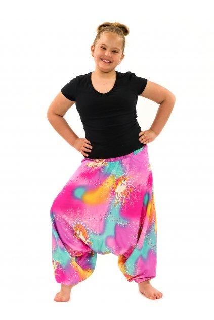 Dětské kalhoty-šaty 2v1 Unicorn - růžové s tyrkysovou