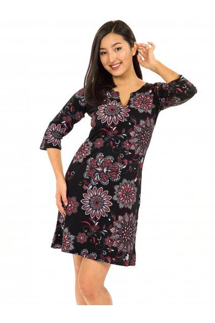 Šaty s 3/4 rukávem Rita - černá s červenou