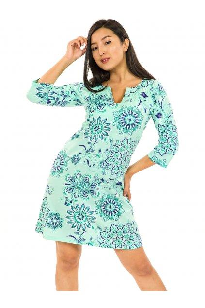 Šaty s 3/4 rukávem Rita - tyrkysová
