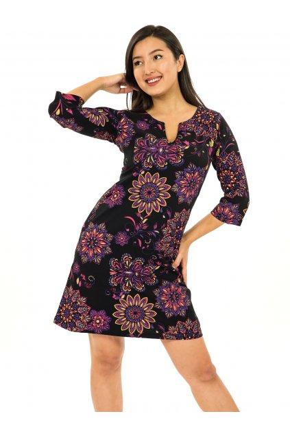 Šaty s 3/4 rukávem Rita - černá s růžovou