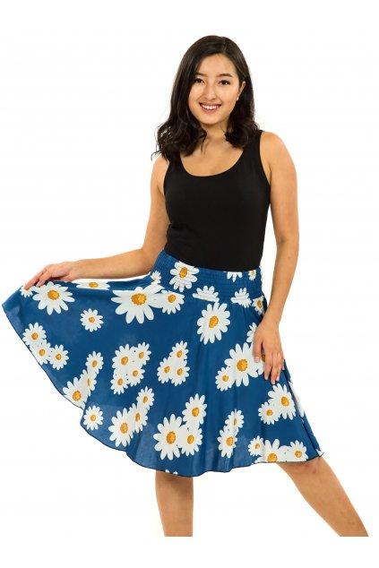 Kolová sukně Kopretina - modrá
