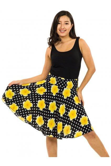 Kolová sukně Plumeria - černá se žlutou