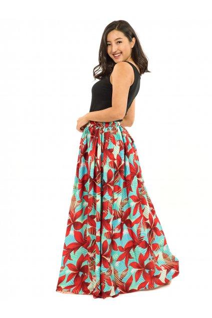 Maxi sukně s kapsami Ibišek - tyrkysová s červenou