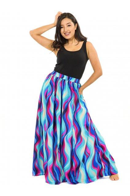 Maxi sukně s kapsami Vlny - tyrkysová s růžovou