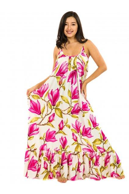 Vzdušné maxi šaty Magnólie - bílá s růžovou
