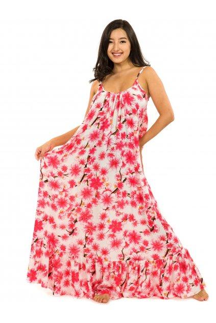 Vzdušné maxi šaty Sakura - bílá s růžovou
