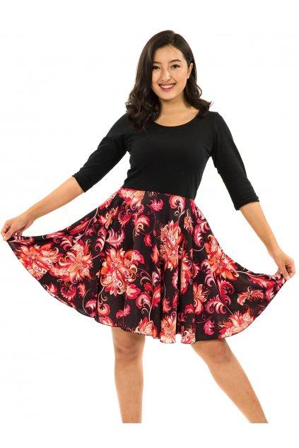 Šaty s 3/4 rukávem Rauna - černé s červenou