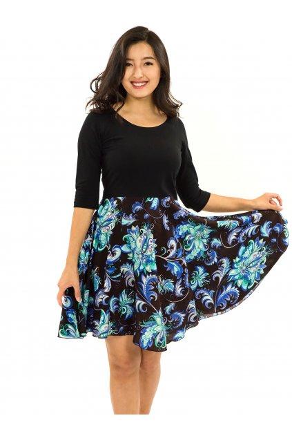 Šaty s 3/4 rukávem Rauna - černé s tyrkysovou