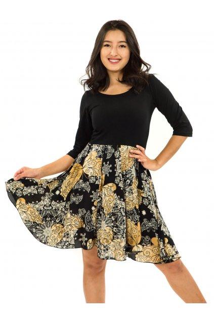Šaty s 3/4 rukávem Butterfly - černá se zlatou