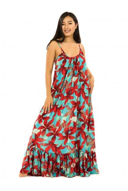 Vzdušné maxi šaty Ibišek - tyrkysová s červenou