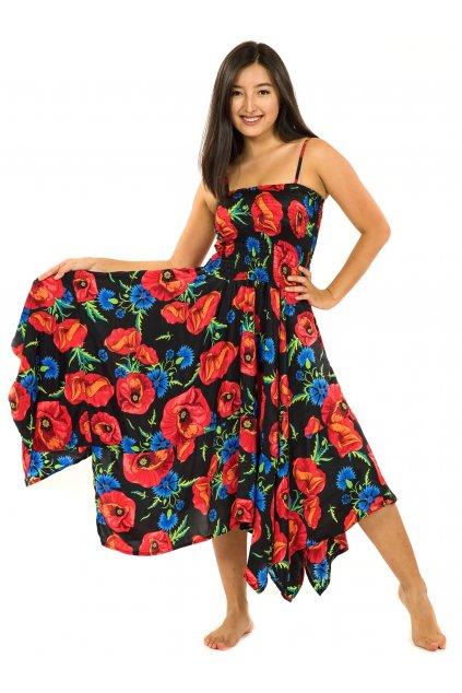 Šaty-sukně 2v1 Dawa Vlčí mák - černá s červenou