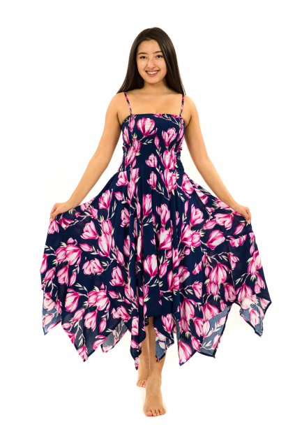 Šaty-sukně 2v1 Dawa Magnolie - modrá s růžovou