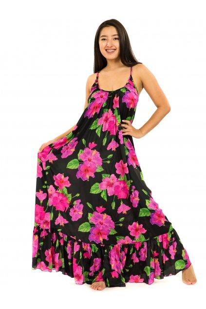 Vzdušné maxi šaty Ibišek - černá s růžovou