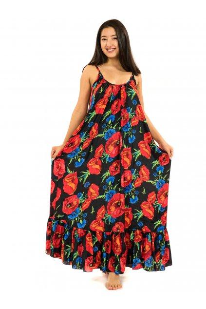 Vzdušné maxi šaty Vlčí mák - černá s červenou