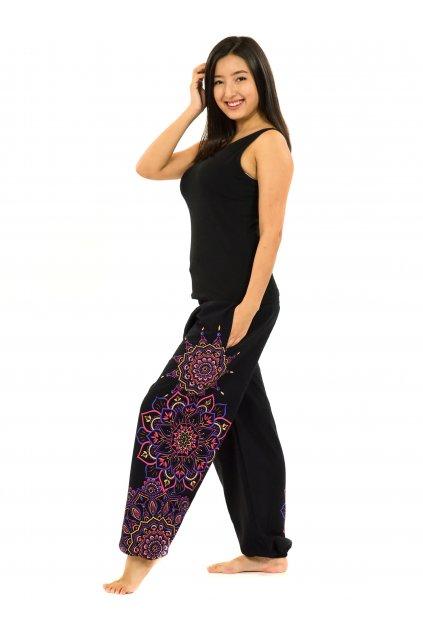 Kalhoty Damsa - černá s růžovou