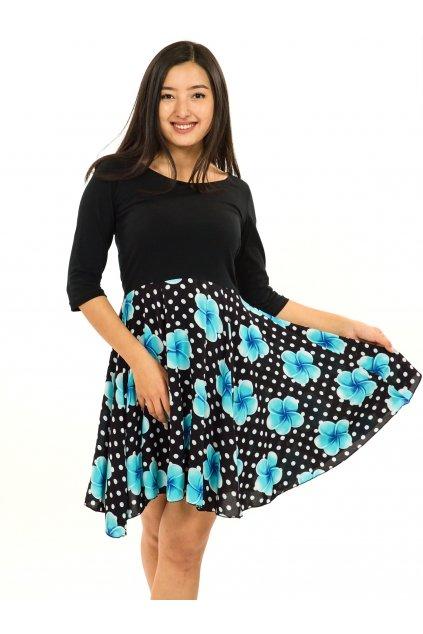 Šaty s 3/4 rukávem Plumeria - černá s tyrkysovou