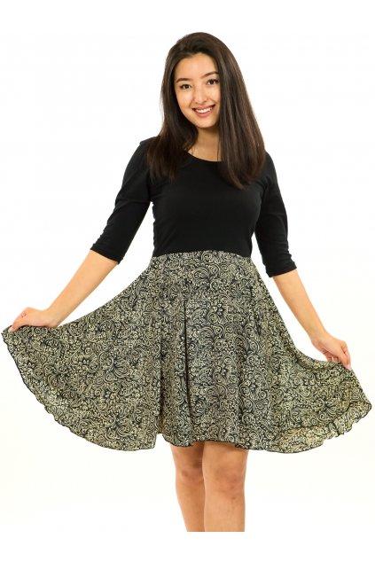 Šaty s 3/4 rukávem Shanti - černá s béžovou