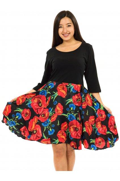 Šaty s 3/4 rukávem Vlčí mák - černá s červenou